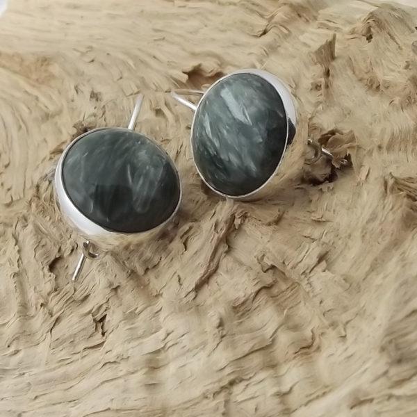 Kolczyki srebro i serafinit pr925