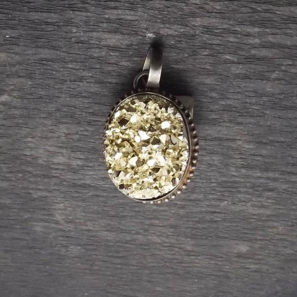 Wisior srebro i złota druza agatowa pr925