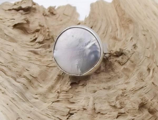 Pierścionek srebro i perła rozmiar18