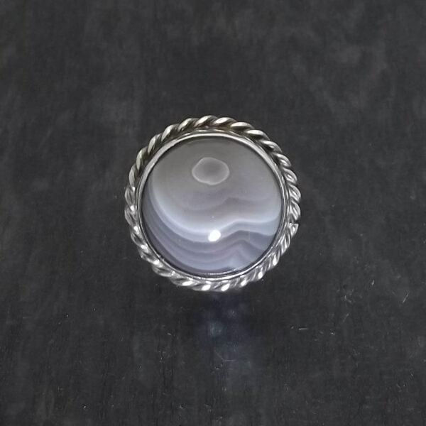 Pierścionek srebro i agat rozmiar 18