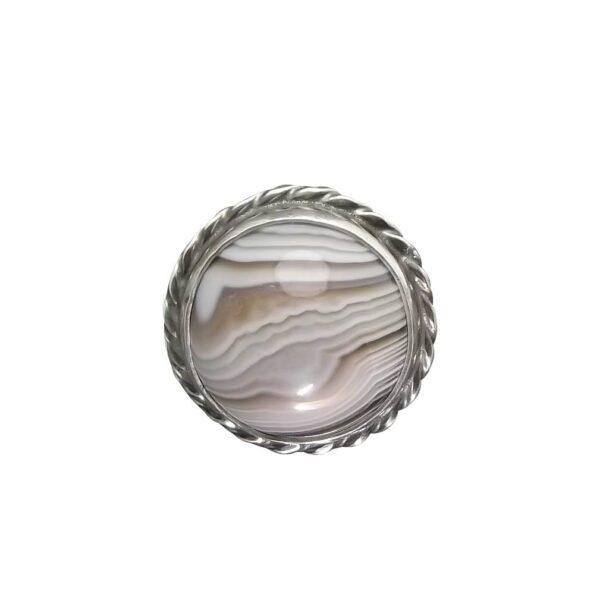 Pierścionek srebro i agat rozmiar 16