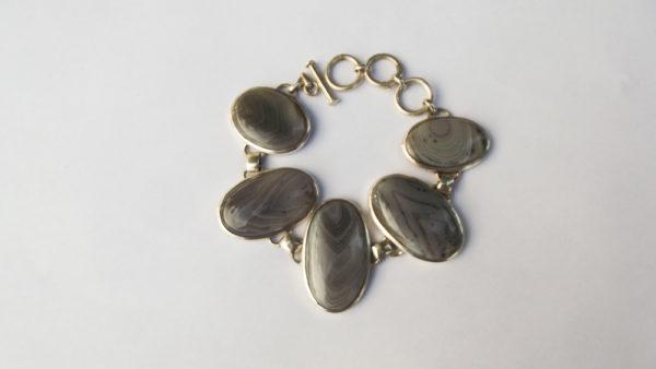 Bransoleta srebro i agat pr925