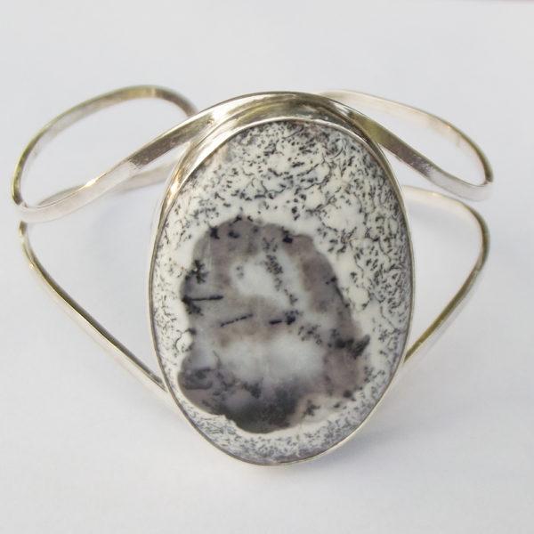 Bransoleta srebro i agat dendrytowy pr925