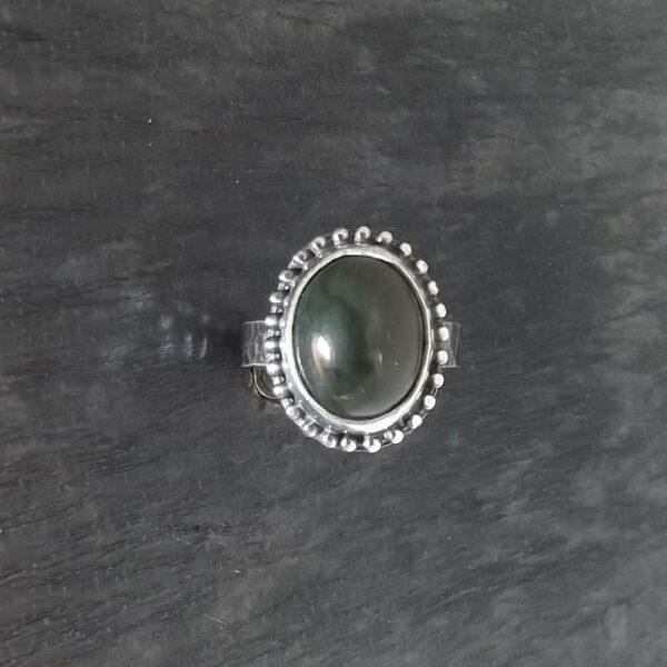Pierścionek srebro i nefryt rozmiar 18