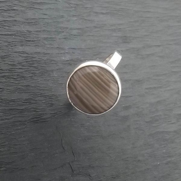 Pierścionek srebro i krzemień pasiasty rozmiar17