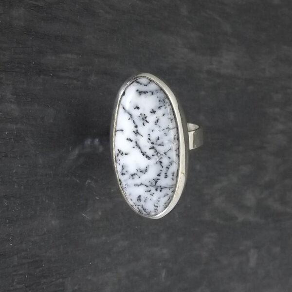 Pierścionek srebro i agat dendrytowy rozmiar19