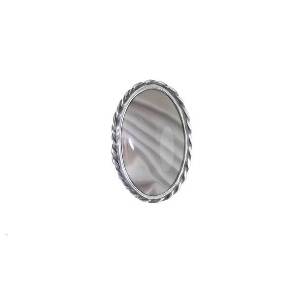 Pierścionek srebro i krzemień pasiasty rozmiar 18