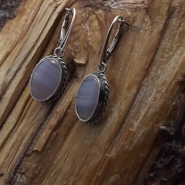 Kolczyki srebro i agat błękitna koronka pr925