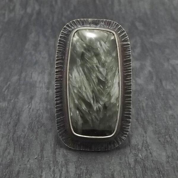 Pierścionek srebro i serafinit  rozmiar 19