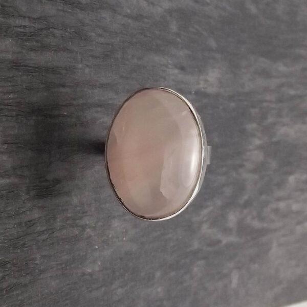 Pierścionek srebro i kwarc różowy rozmiar17